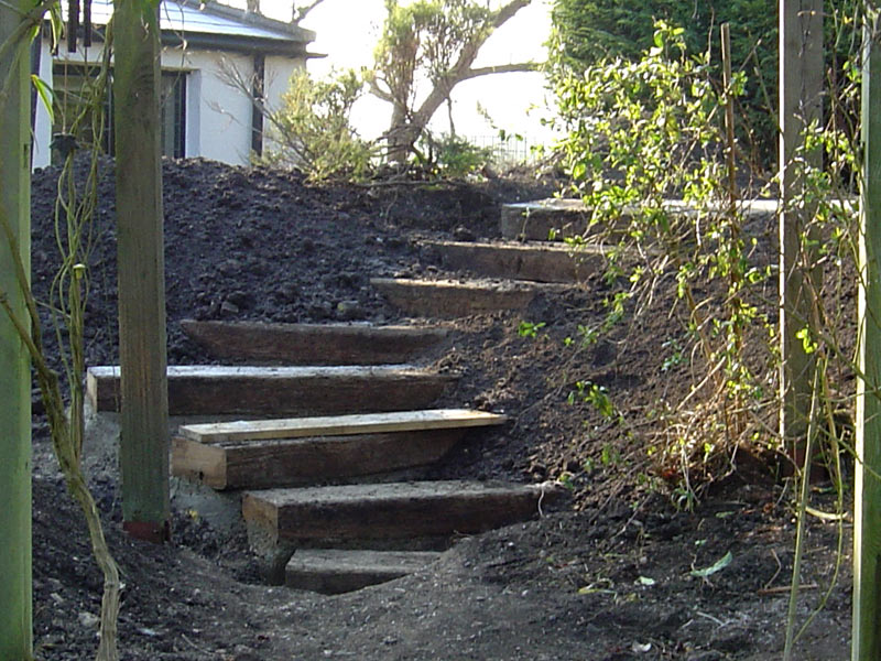 Building the steps out of railway sleepers